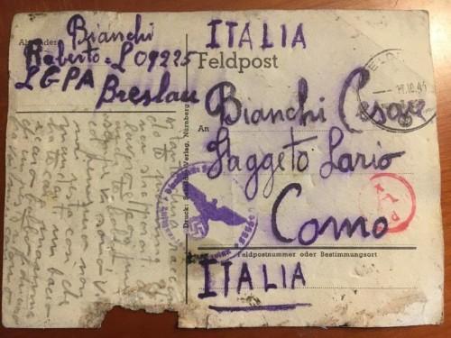 La cartolina ritrovata a Como (photo credit: Valentina Romano)