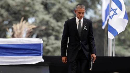 Il presidente Usa Barack Obama ai funerali di Shimon Peres