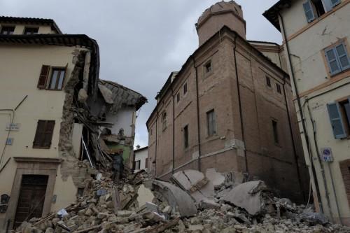 La città di Camerino devastata dal sisma (Foto Angelo Emma-LaPresse)