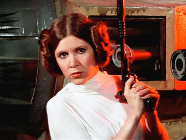 Carrie Fisher nei panni della principessa Leyla di StarWars