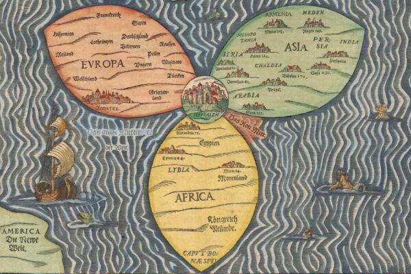 La mappa del mondo di Heinrich Bünting (1581)