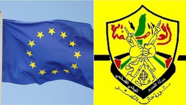 La bandiera di Fatah accanto a quella dell'Unione Europea