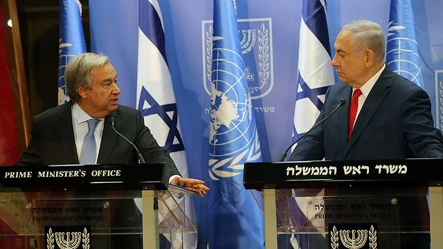 Da sinistra il Segretario Generale dell'Onu Antonio Guterres e il premier israeliano Beniamin Netanyahu