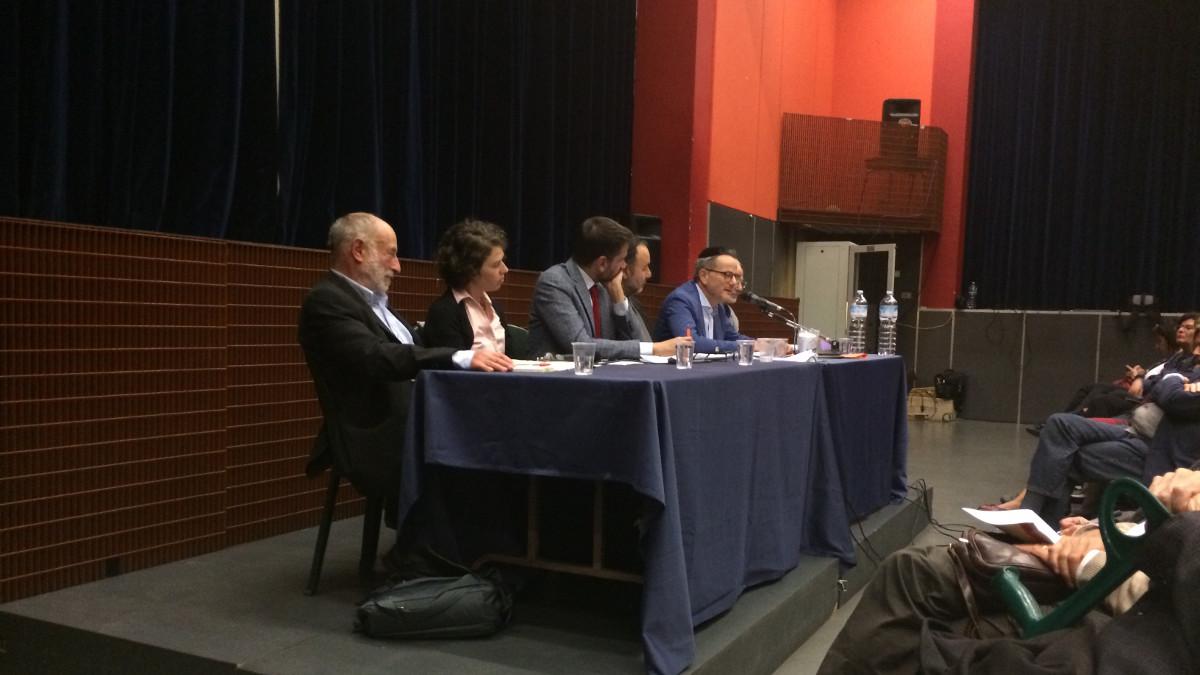 I relatori della serata Kesher sull'ebraismo laico
