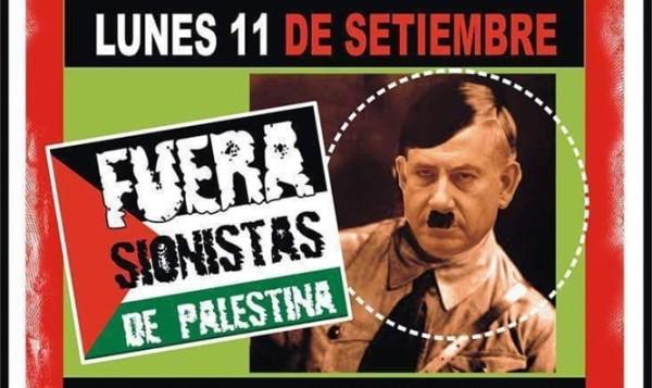 I manifesti a Buones Aires che ritraggono Netanyahu come Hitler