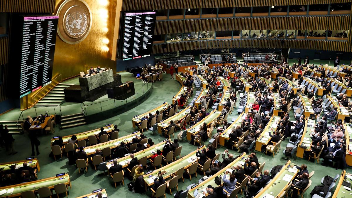 L'assemblea Onu durante la votazione su Gerusalemme capitale di Israele