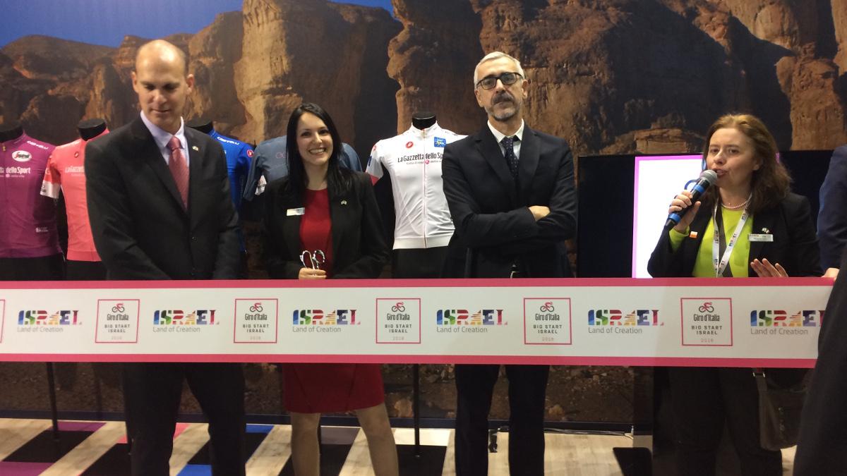 I rappresentati ufficiali di israele edi Rcs Sport alla presentazione della prima tappa del Giro d'Italia da Gerusalemme