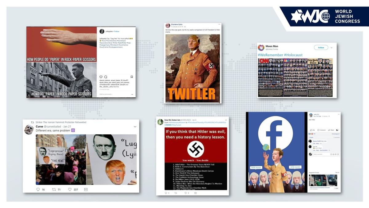 Post sui social che mostrano antisemitismo sul web