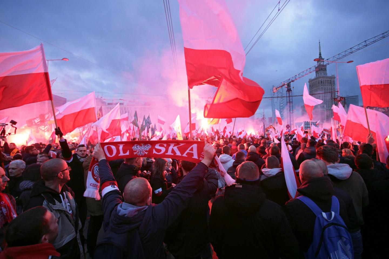 Manifestazione neofascista a Varsavia nel novembre 2017