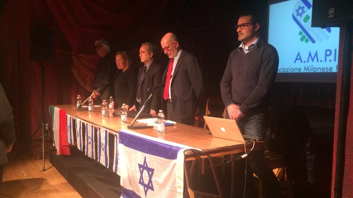 I relatori al secndo convegno dell'Associazione milanese Pro Israele (AMPI)