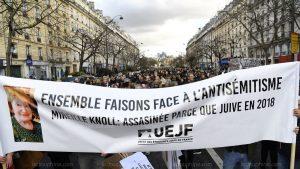 la marcia contro l'antisemitismo in memoria di Mireille Knoll
