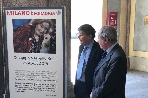 Il totem dedicato a Mireille Knoll a Palazzo Reale