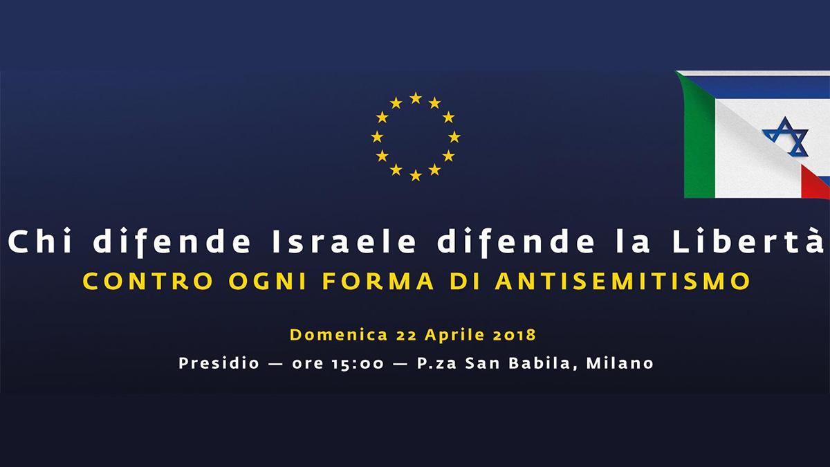 La locandina del presidio contro l'antisemitismo del 22 aprile