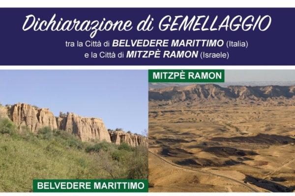La locandina della cerimonia di gemellaggio fra Belvedere Marittimo e Mitzpe Ramon