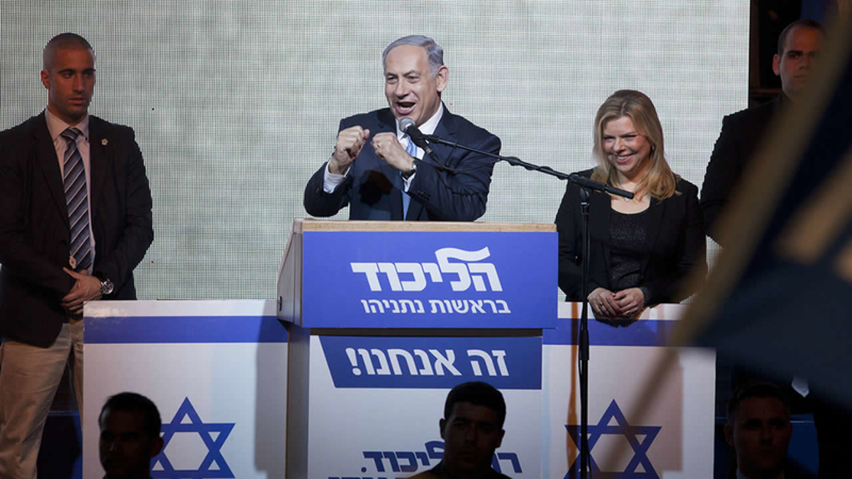 Beniamin Netanyahu a un comizio del Likud