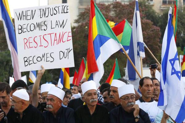 Israeliani drusi ed ebrei protestano per la Legge Stato-Nazione