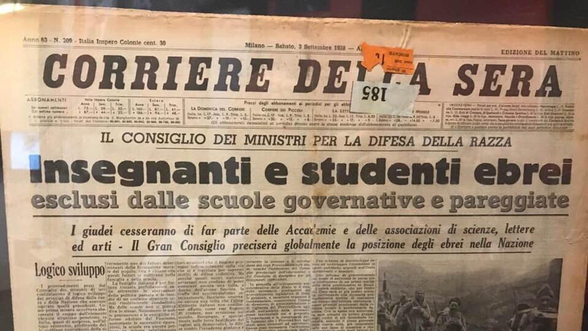 Il Corriere della Sera del 3 settembre 1938 che comunica l'espulsione dalle scuole degli ebrei