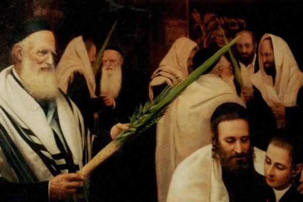 Rabbini con il lulav per Sukkot