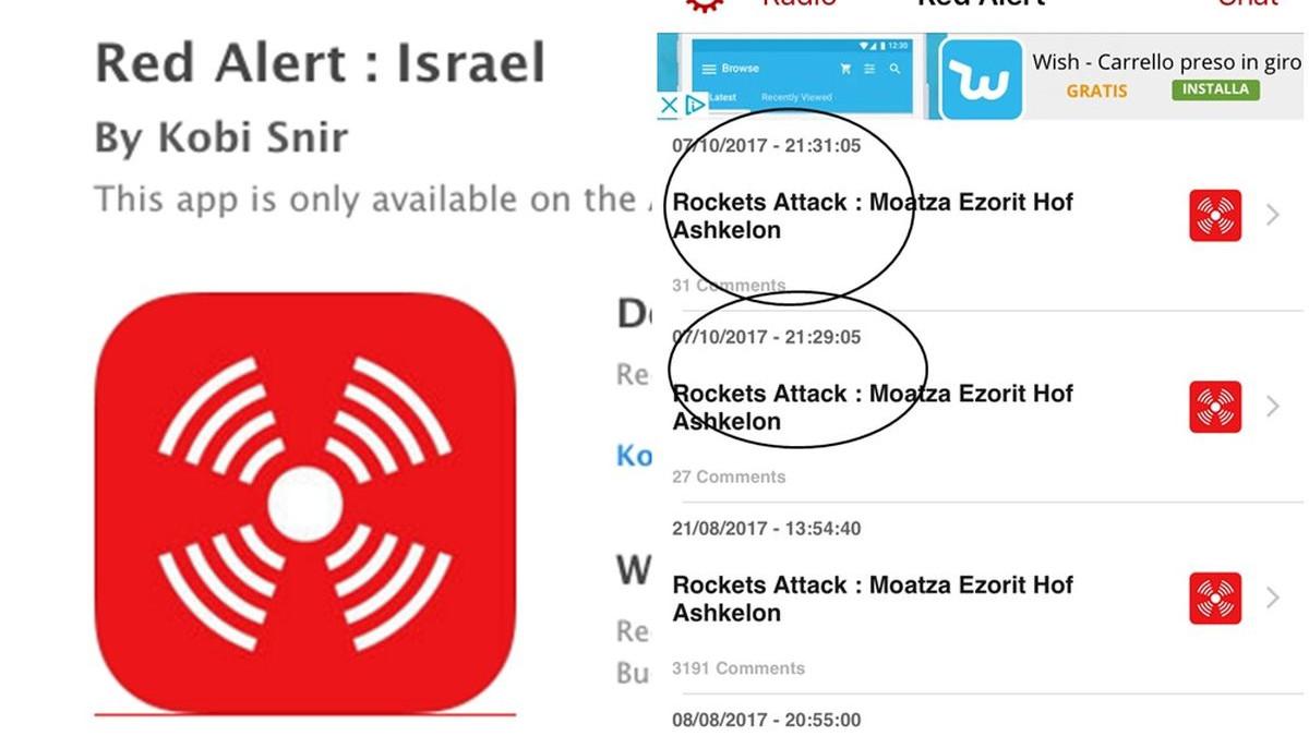 L'App Red Alert segnala il lancio di missili e mortai in tempo reale