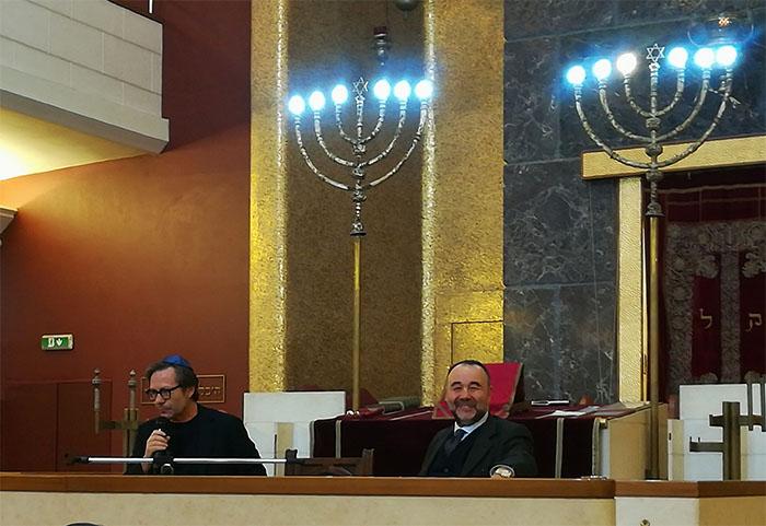 Da sinistra, Massimo Recalcati e Rav Roberto Della Rocca a Jewish in the City