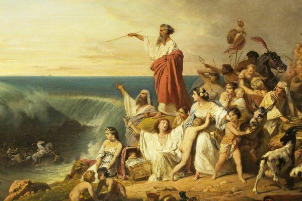 Dipinto degli ebrei che attraversano il Mar Rosso
