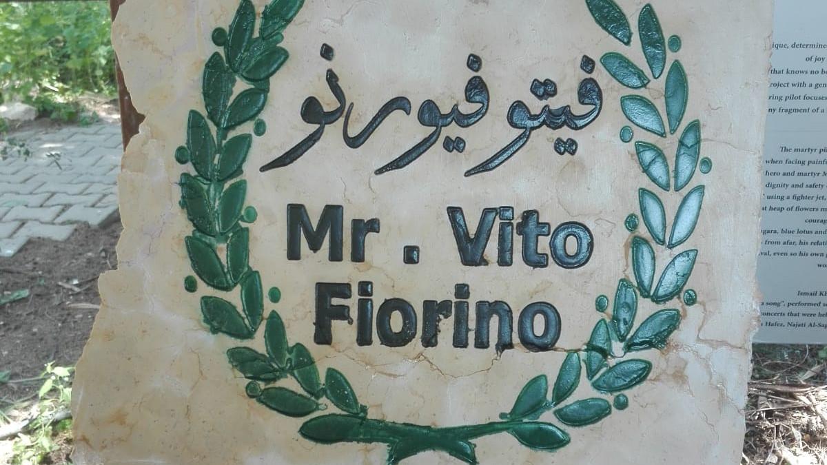 Cippo per Vito Fiorino al Giardino del bene in Giordania