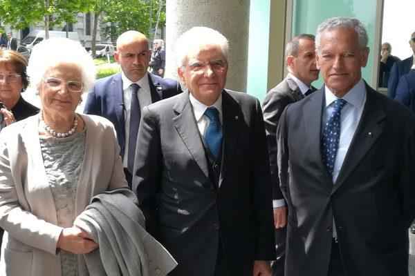 Da sinistra, Liliana Segre, Sergio Mattarella e Roberto Jarach