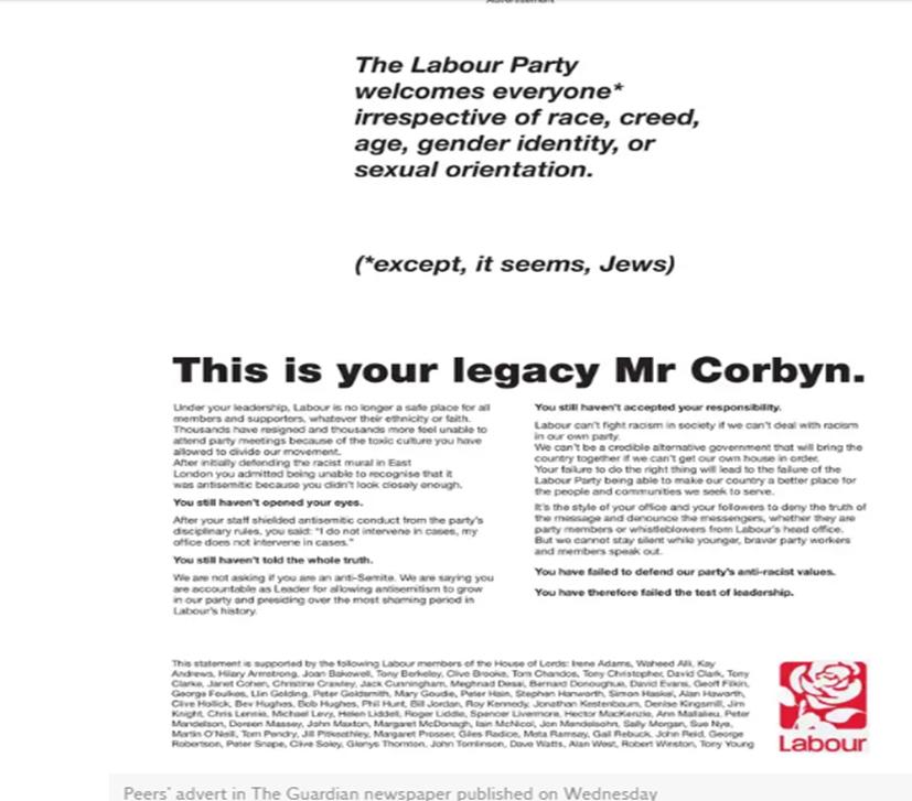 La pubblicitò sul Guardian contro Corbyn