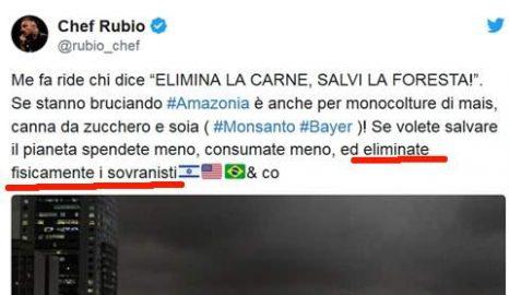 Il tweet di Chef Rubio