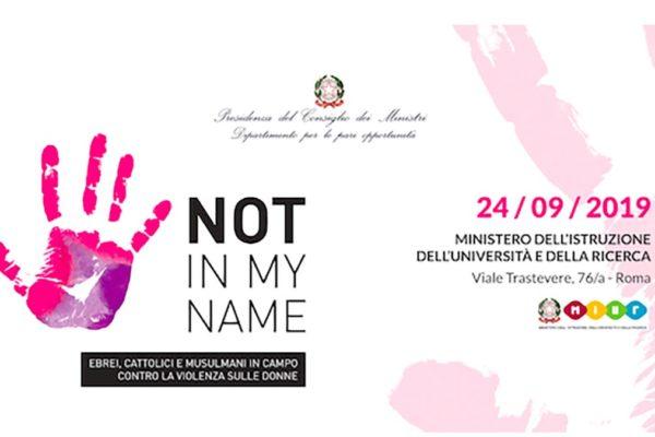 La locandina del progetto 'Not in my name' contro la violenza sulle donne