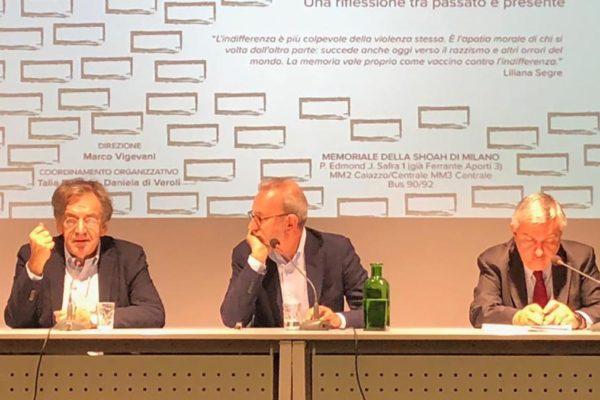 Alain Finkielkraut al memoriale della Shoah di Milano
