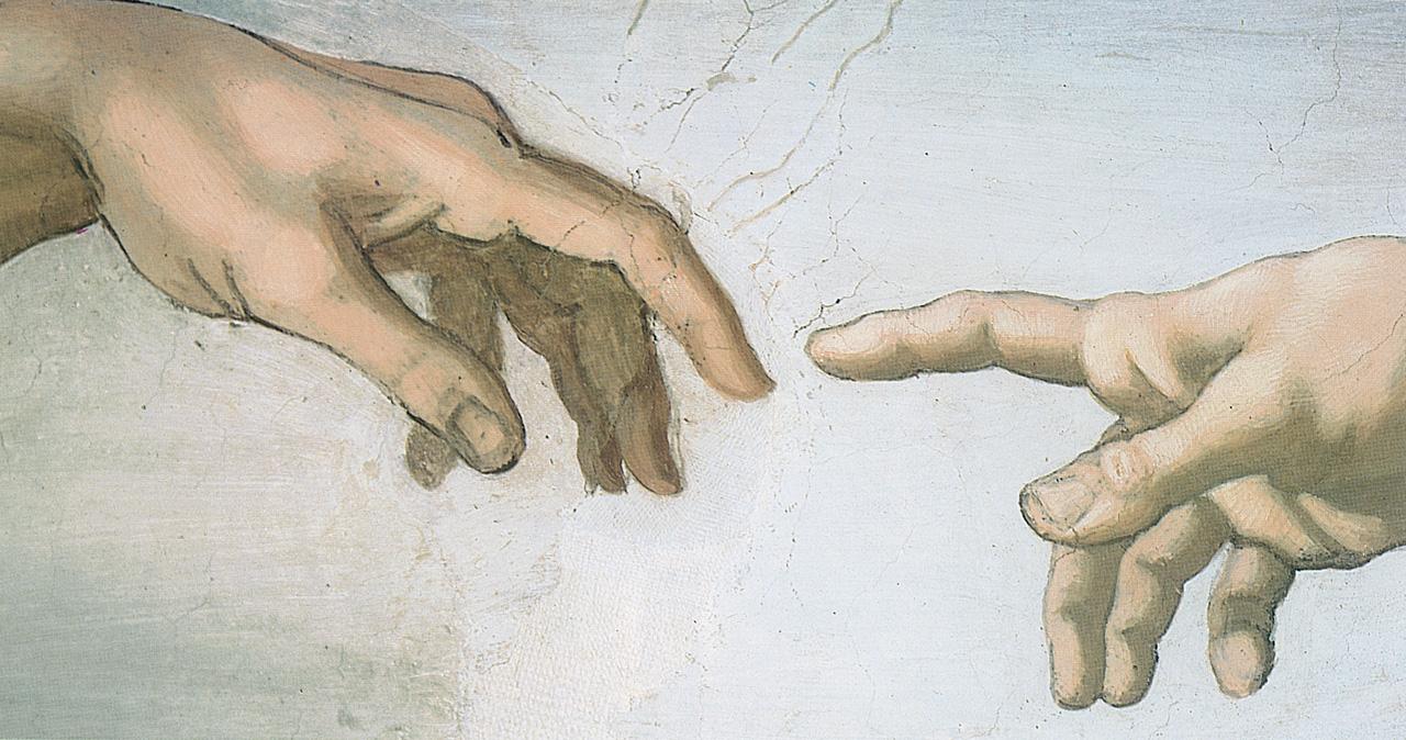 Un dettaglio della 'Creazione di Adamo' di Michelangelo nella Cappella Sistina