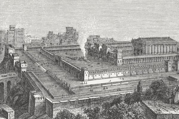 Una litografia del primo Tempio di Gerusalemme