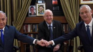 beniamin Netanyahu, Reuven Rivlin e Benny Gantz