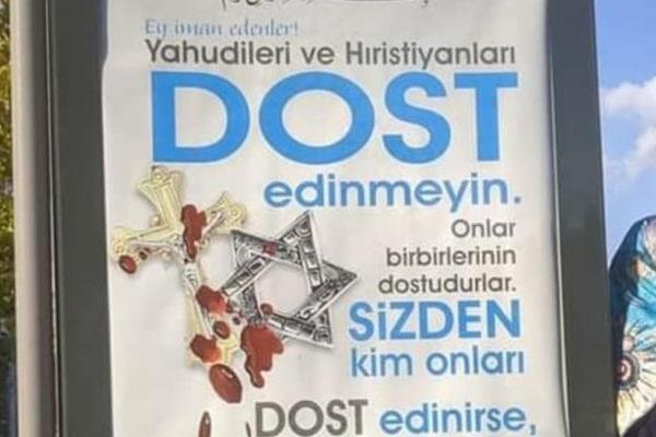 Manifesto contro ebrei e cristiani in Turchia