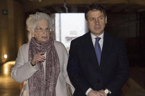 Il premier Giuseppe Conte e Liliana Segre al Memoriale della Shoah