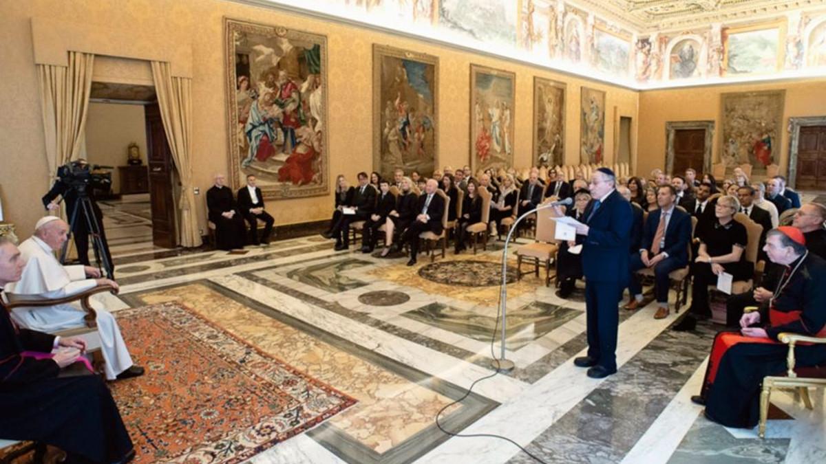 Papa Francesco in udienza con una delegazione del Simon Wiesenthal Center