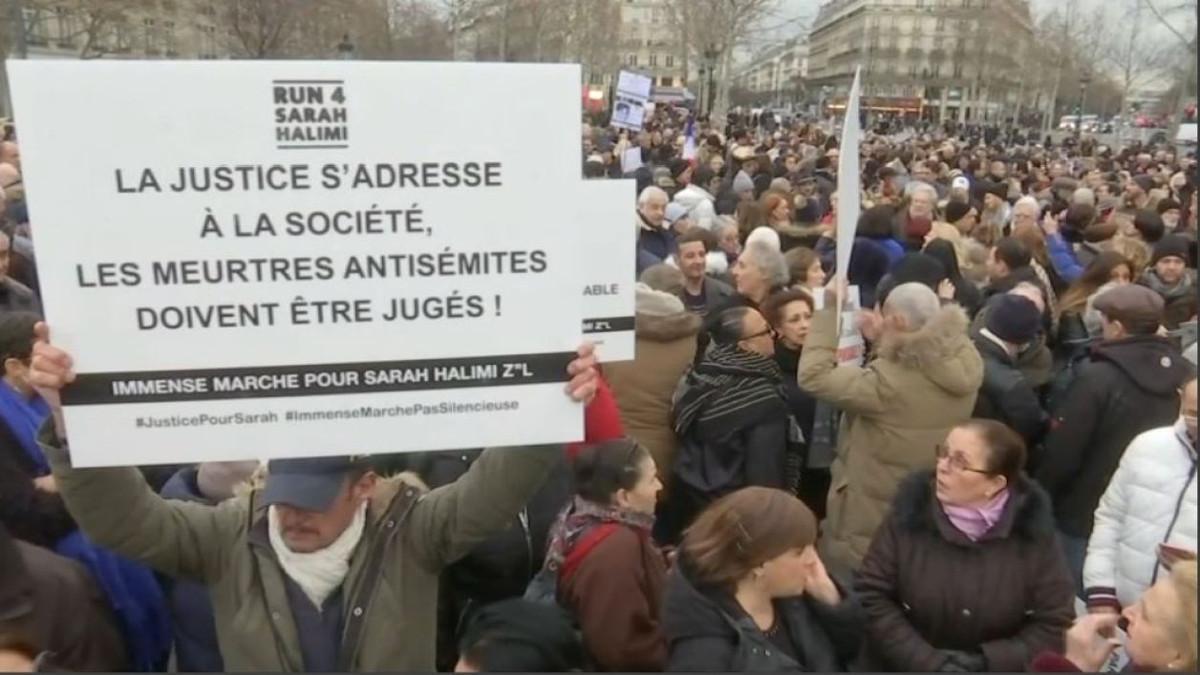 le manifestaizoni del 5 gennaio in Francia contro l'antisemitismo