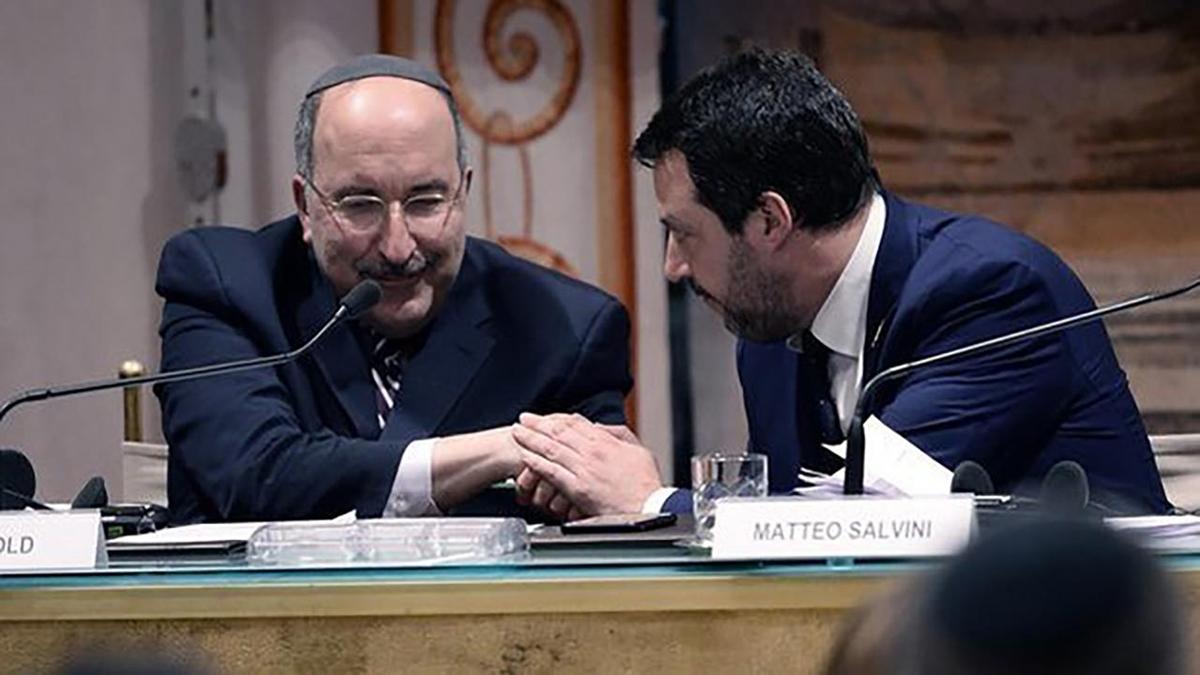 Matteo Salvini e Dore Gold al convegno sull'antisemitismo organizzato dalla Lega