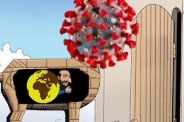 Una vignetta antisemita sugli ebrei che causano il coronavirus