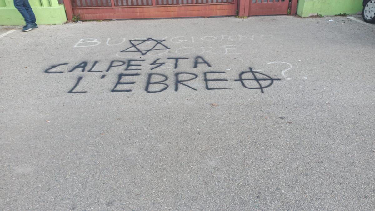 Una scritta antisemita a Pomezia