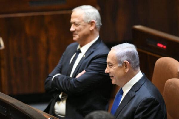 Beniamin Netanyahu e Benny Gantz durante l'annuncio dle nuovo governo israeliano