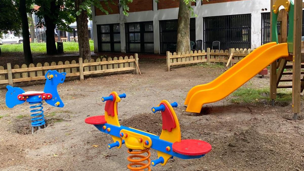 i lavori di rifacimento del giardino della scuola ebraica