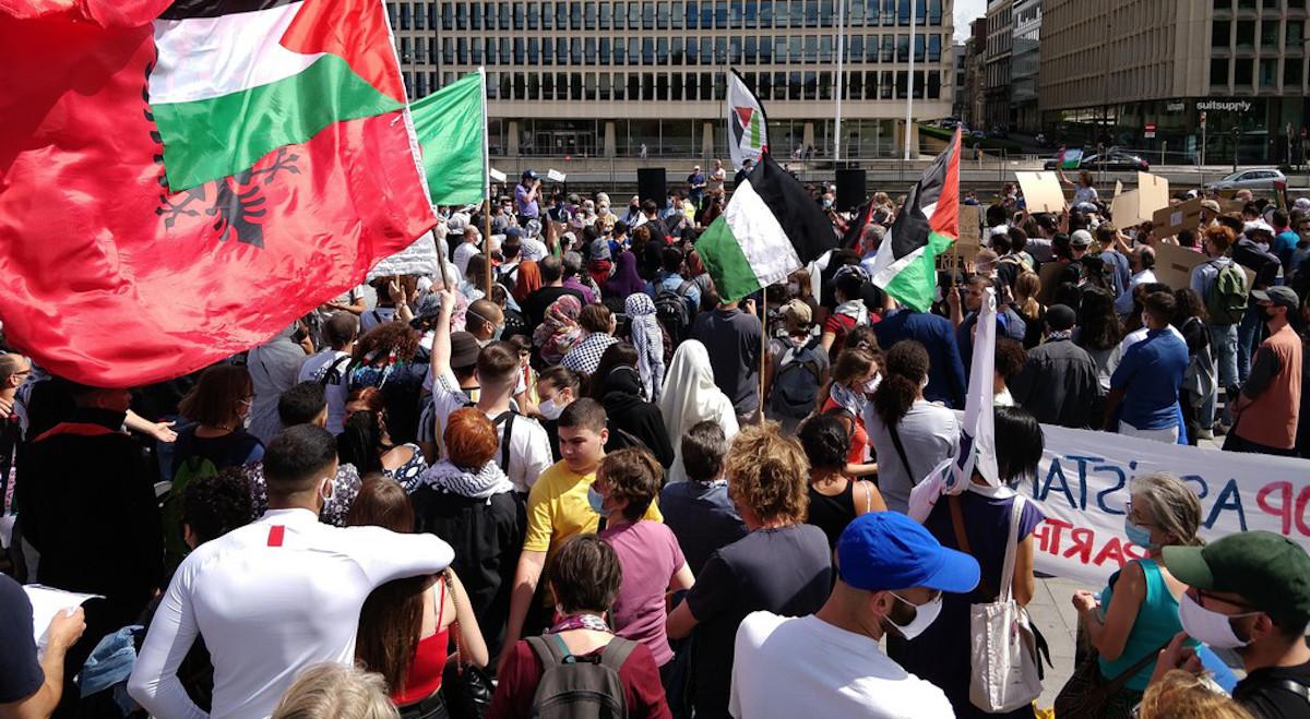 manifestazione pro-paletsinese a Bruxelles in cui sono stati gridati insulti antisemiti
