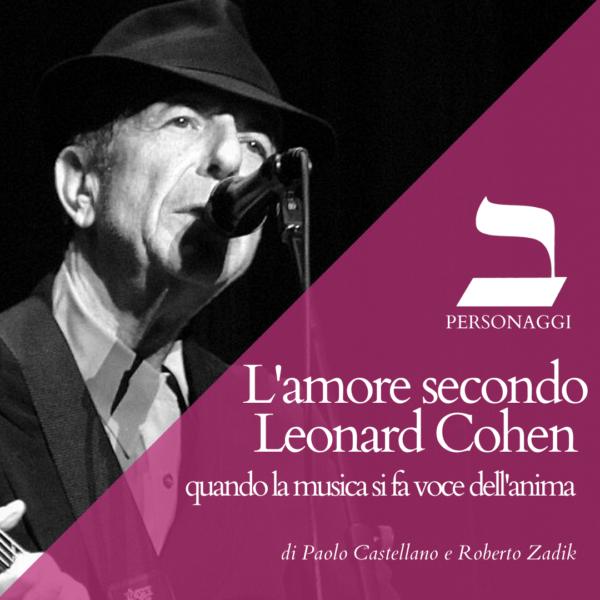 Leonard Cohen che canta davanti a un microfono