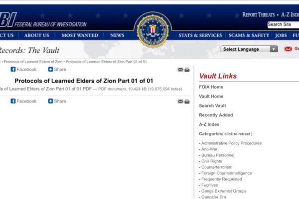 Su Twitter l'FBI ha pubblicato una versione dei Protocolli dei Savi di Sion