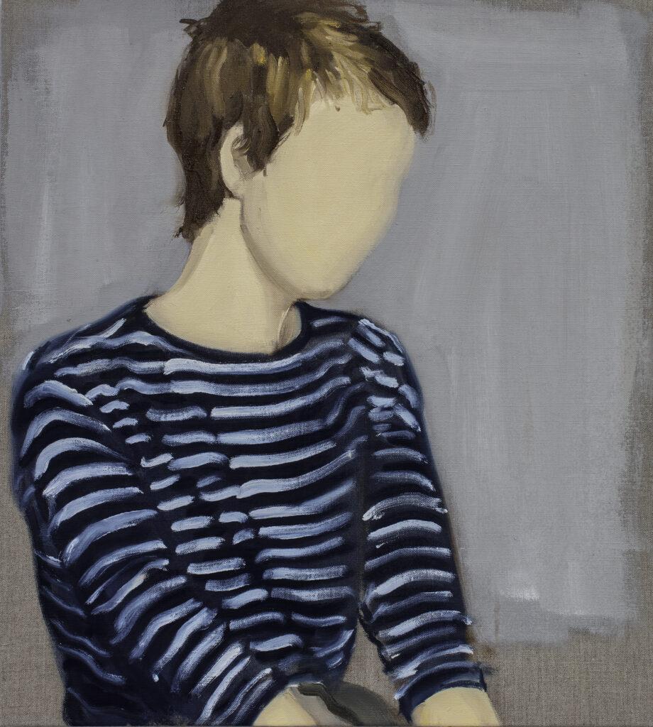 Gideon Rubin, White Stripes, 2018, Olio su lino, 51x45,5 cm.Courtesy the Artist and Monica De Cardenas