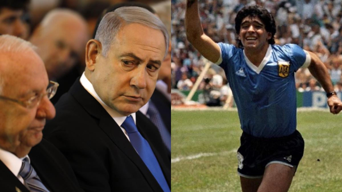 foto di Maradona, Netanyahu e Rivlin