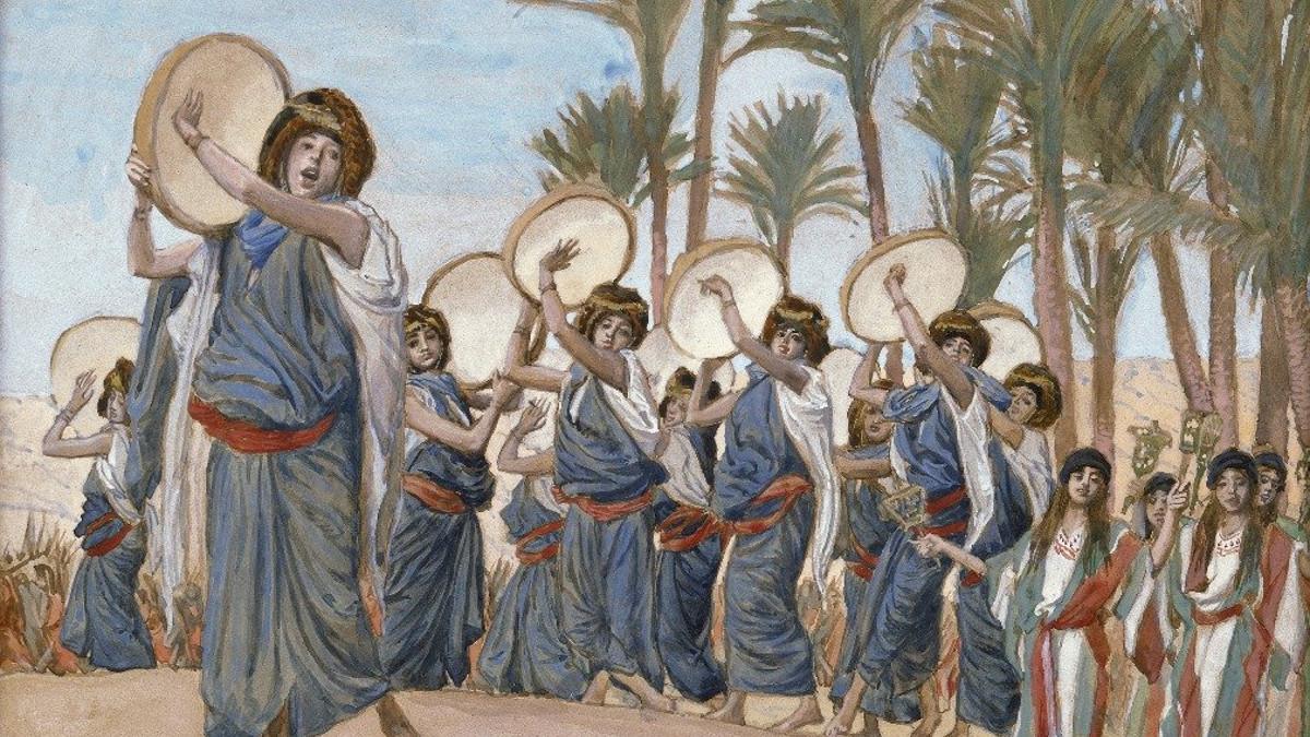 Miriam suona il tambuerllo dopo l'apertura del Mar Rosso (parashat beshallach)