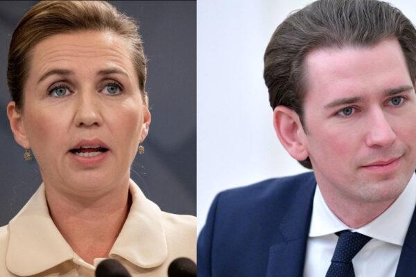 Da sinistra la premier danese Mette Frederiksen e il premier austriaco Sebastian Kurz